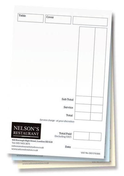 NCR order pads for Nelson's Restaurant