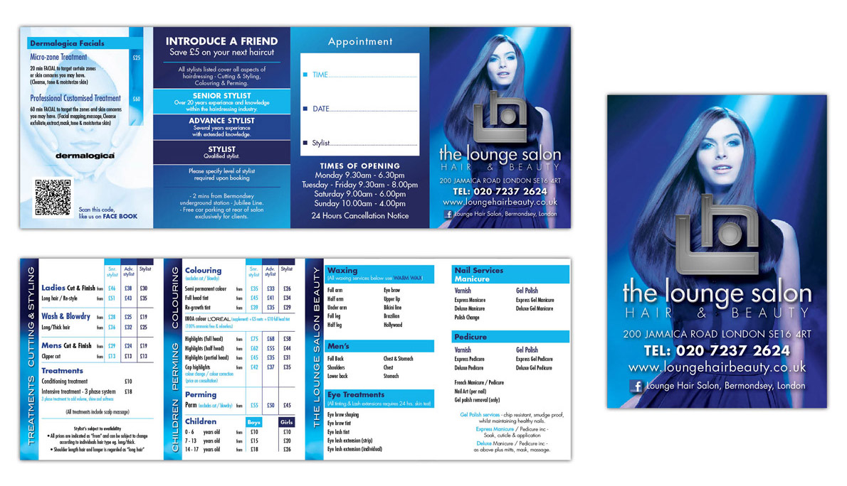 The Lounge Salon price card designed by centre manager Matt Potter and printed by Southside Print London Bridge.
