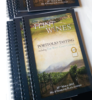 Flint Wines digitally printed & wiro bound booklet