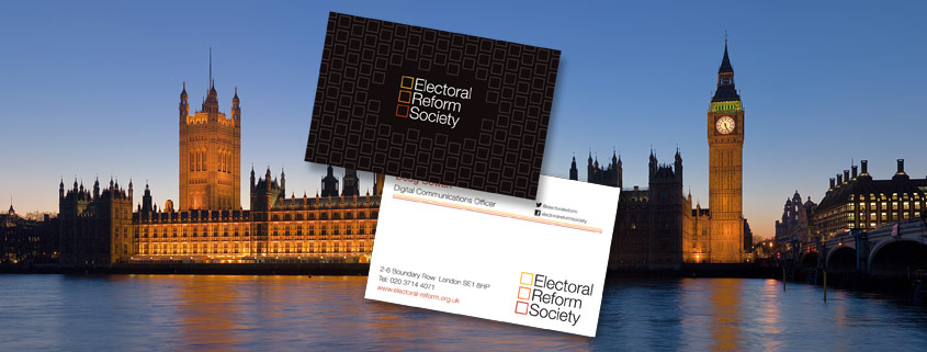 Printed business cards for the Electoral Reform Society