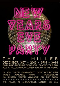 New Year's Eve poster for The Miller pub, Borough.