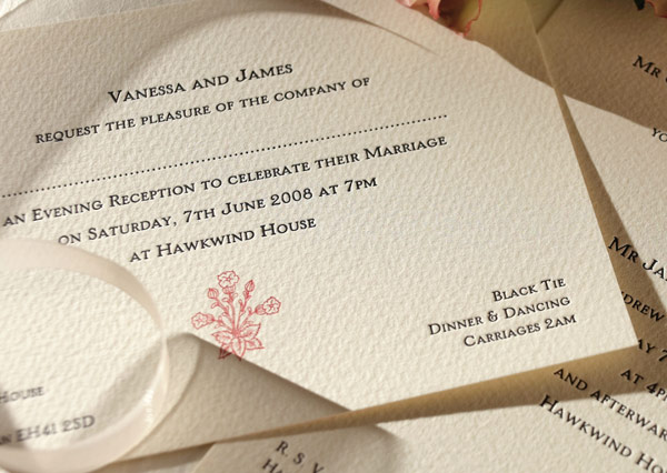 Wedding invitation using letterpress printing and textured stock