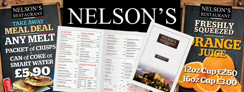 Design and printing for Nelson's Restaurant