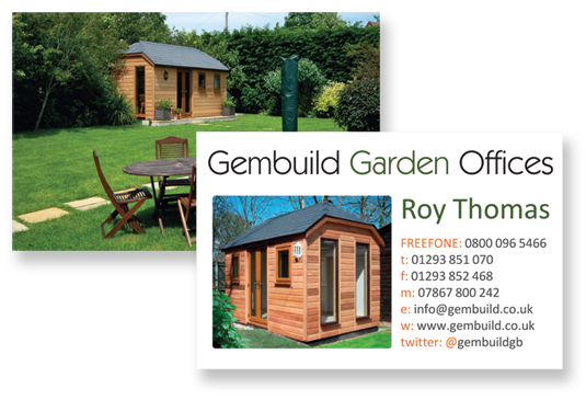 Printed business cards flyers brochures for gembuild garden offices full colour matt laminated business cards colourmoves