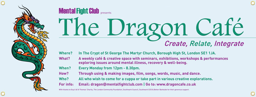 Hanging banner for The Dragon Café, London SE1