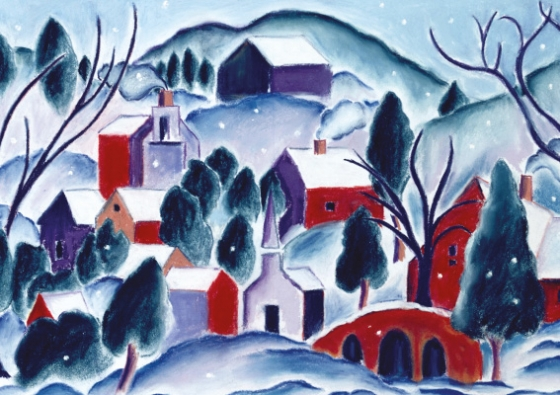 'Winter village' Christmas card