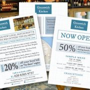 Voucher & discount codes printed on leaflets for Greenwich Kitchen