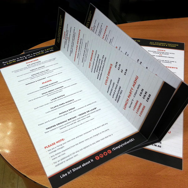 Menus for Simply Indian restaurant