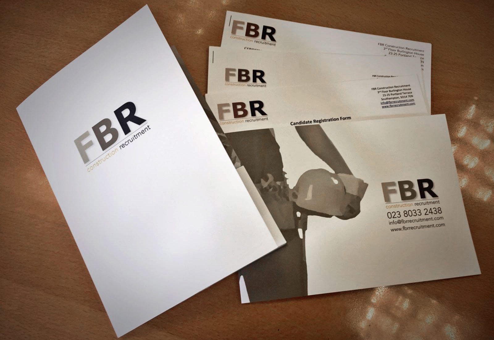 Printed folders, brochures, inserts & business cards for FBR