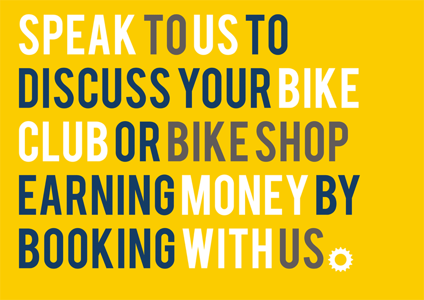 Poster for Bikecation's affiliate scheme for bike shops & clubs