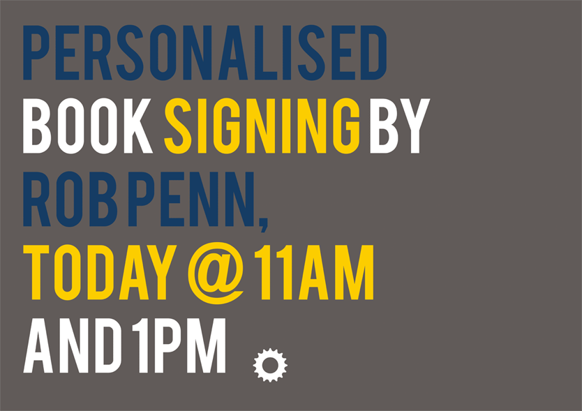 Digitally printed poster for book signing by Bikecation's Rob Penn