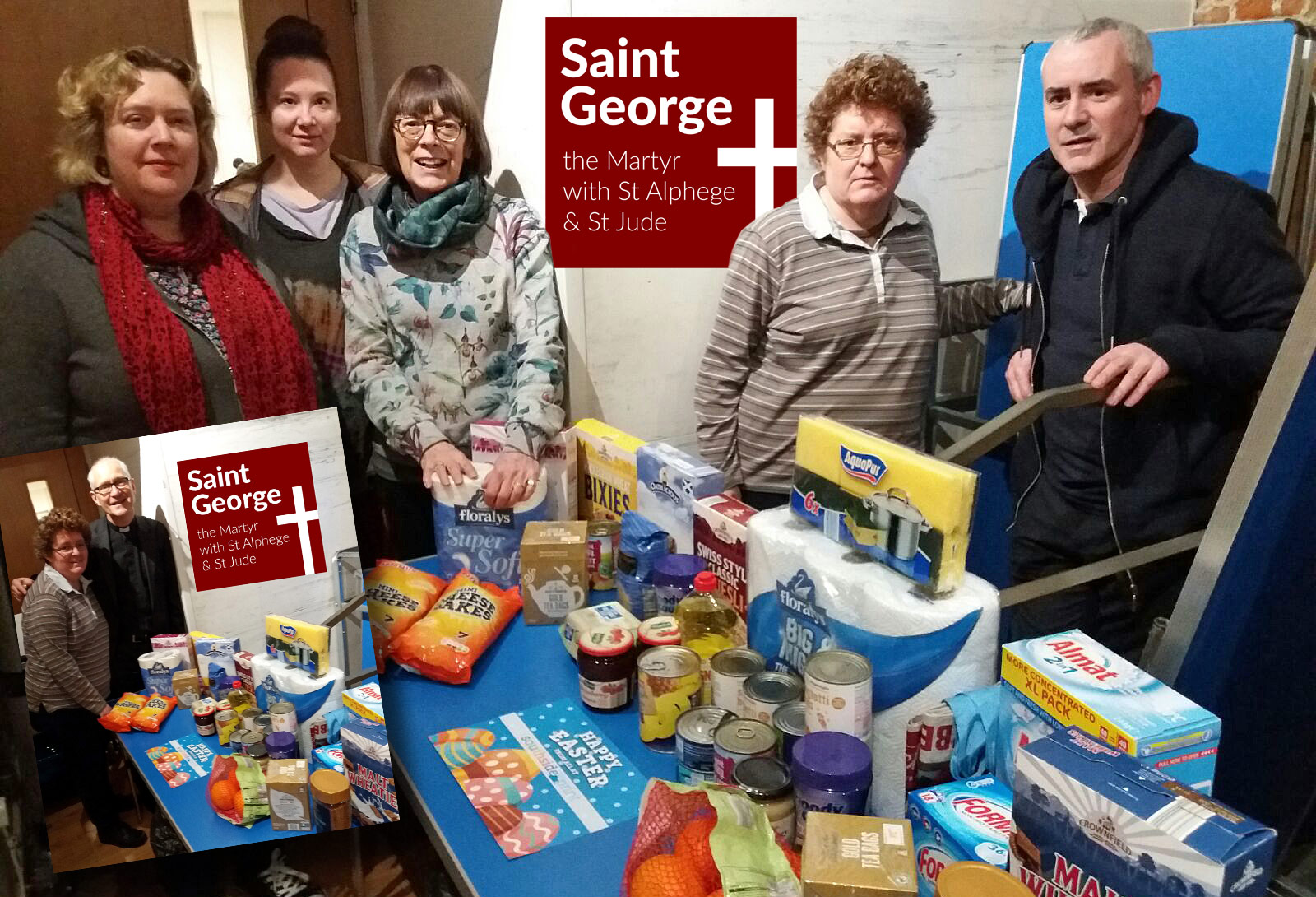 Our food parcel with the Rev'd Jonathan Sedgwick, Jane and the team at Saint George The Martyr's foodbank.