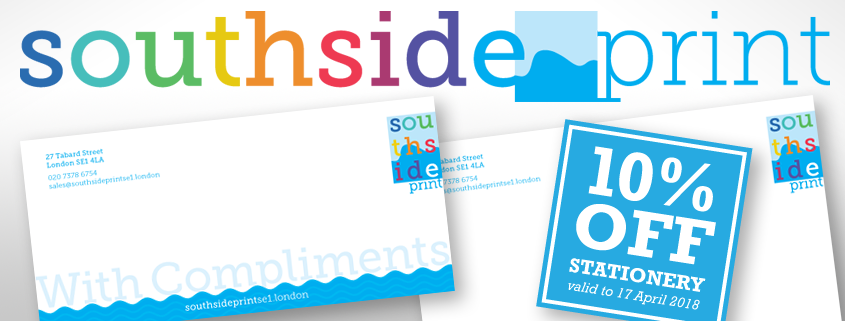 As a welcome gift from Rob the new owner of Southside Print SE1, you can save 10% off the price of business stationery for the next two weeks until 17th April 2018.