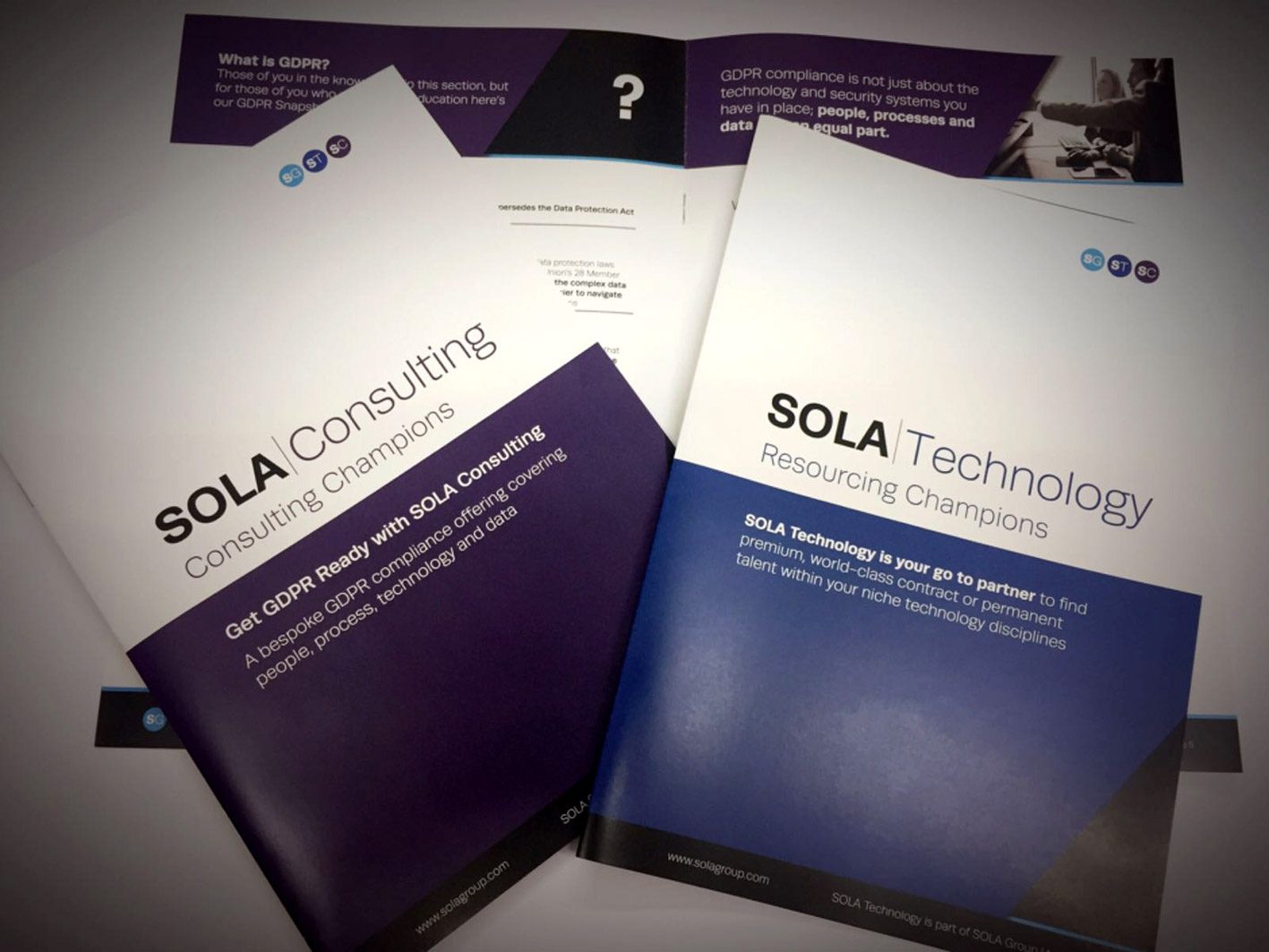 Saddle-stitched brochures for SOLA Consulting