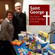 The Rev'd Jonathan Sedgwick with Jane at Saint George The Martyr's foodbank.