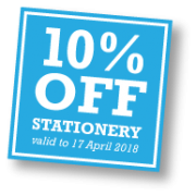 Save 10% off all business stationery until 17th April 2018.