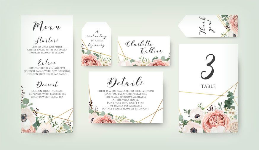 We also design and print wedding stationery, invitations, table cards, menus, Save the Date cards etc