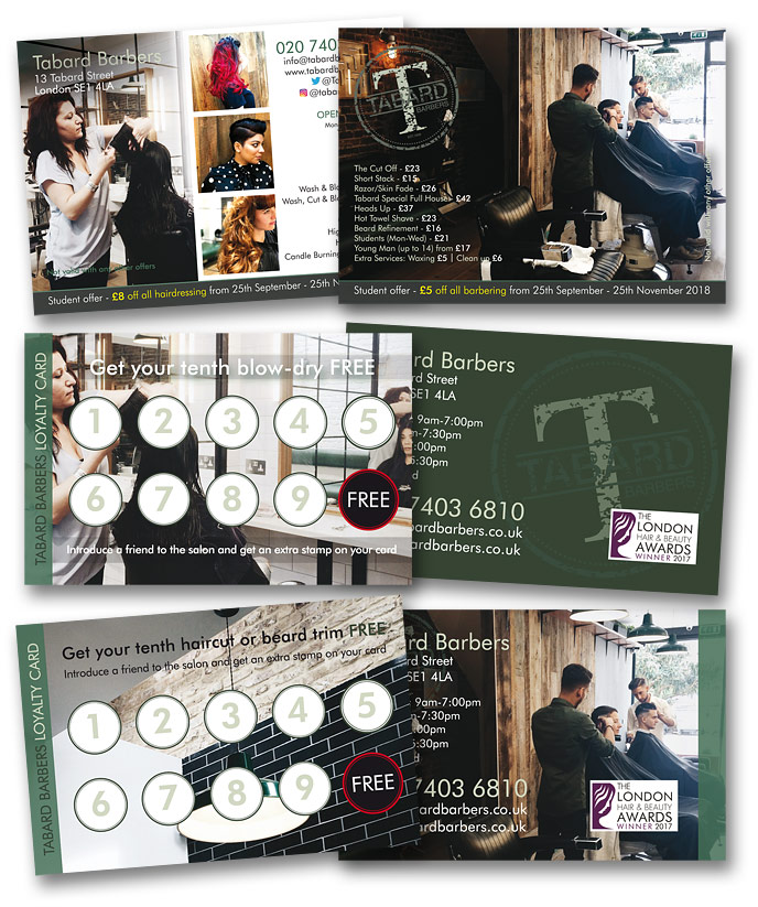 Printed loyalty and student cards for Tabard Barbers, London SE1