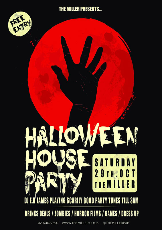 Striking Halloween event poster for an SE1 pub
