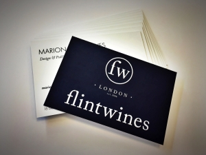Digitally printed business cards for Flint Wines with soft touch laminate.