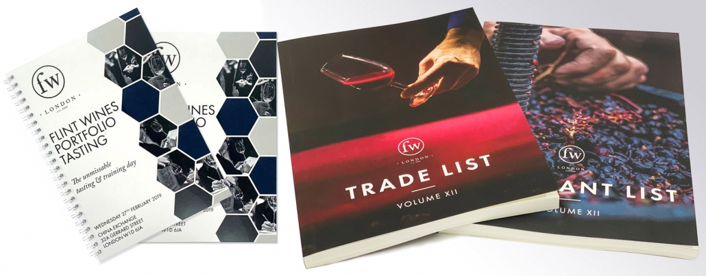 Wire bound and perfect bound booklets printed for specialist trade supplier, Flint Wines.