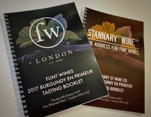 Wire-o bound Portfolio Tasting booklets printed for Flint Wines.