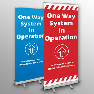 'One Way System In Operation' roller banners