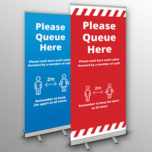'Please Queue Here' roller banners