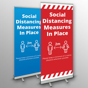'Social Distancing Measures In Place' roller banners