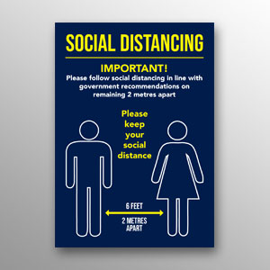 'Social Distancing' poster - dark blue