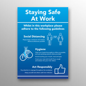 'Staying Safe At Work' poster - blue