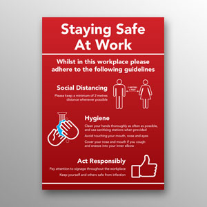 'Staying Safe At Work' poster - red