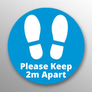 'Please Keep 2m Apart' floor vinyl - blue
