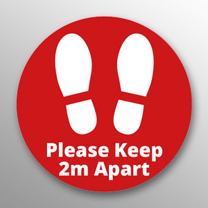 'Please Keep 2m Apart' floor vinyl - red