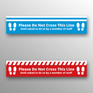 'Please Do Not Cross This Line' floor vinyls