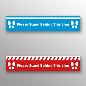 'Please Stand Behind This Line' floor vinyls