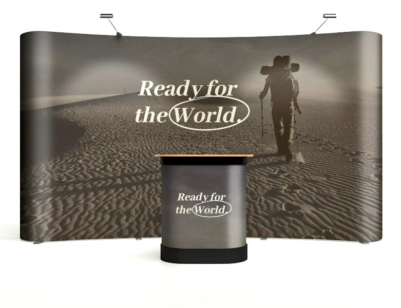 Our pop-up display systems include printing of the graphics plus a counter that doubles as transportable storage