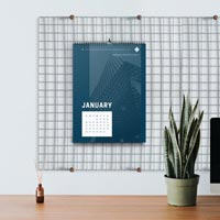 Our standard calendars are wall calendars, but we can also produce other types like desktop calendars.